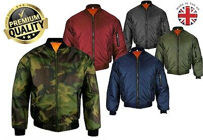 Mens Made In UK Ma1 Military Air Force Padded Doorman Zip Camo Bomber Jacket • 22.99£