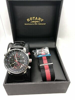Rotary GS03641/04/L Men's Stainless Steel Chronograph Leather Watch RRP £139 • 60£