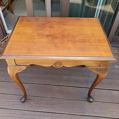 $65 • Buy Vintage Mahogany Queen Anne Tea Table With Sliding Side Panels