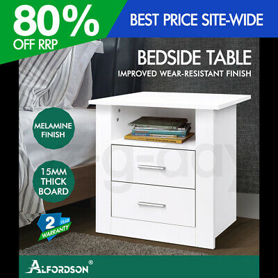 AU79.95 • Buy ALFORDSON Bedside Table Nightstand Storage Cabinet Side Table Classic White