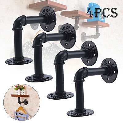 £12.99 • Buy 2/4PCS Pipe Shelf Brackets Industrial Iron Rustic Shelves Wall Floating Supports