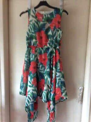 Girls Tu Floral High Low Floral Dress Age 11yrs Vg Used Cond(6) • 7.99£