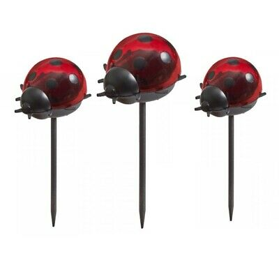 3 Pack Solar Garden Ladybird Stake Lights Borders Decking Flowerbeds Pathway • 10.95£