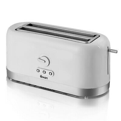 £32.95 • Buy Swan 4 Slice Longslot White Bread Toaster High Lift Variable Browning Defrost