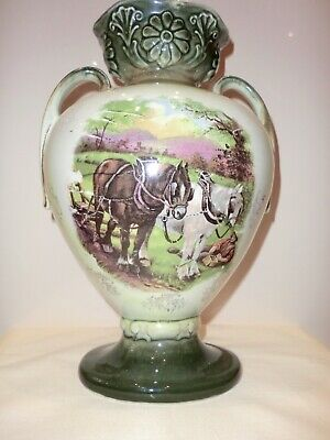 Victorian Ceramic Vase In Green Picture Two Shire Horses Vgc • 16£