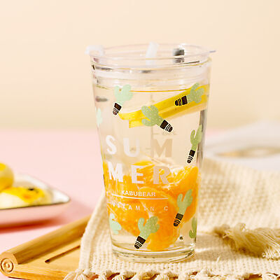 450ml Water Glass Bottle Mug With Lid And Drinking Straw, Lovely Cup   • 10.65£