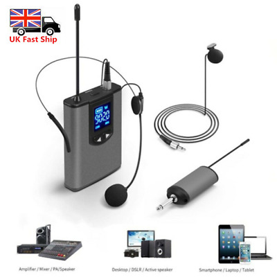 Wireless Lavalier Lapel Microphone MIC System Headset Receiver Transmitter • 28.59£