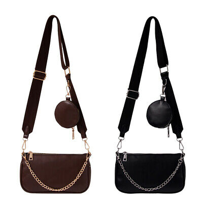 $ CDN18.37 • Buy 2pcs PU Leather Messenger Bag Women Solid Chain Shoulder Crossbody Handbags $S1