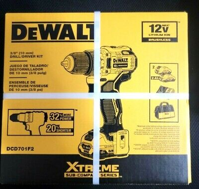 DeWALT DCD701F2 XTREME 12V MAX Brushless Drill/Driver W/bag, Charger, 2batteries • 79.74£