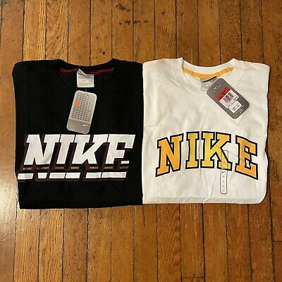 $ CDN25.37 • Buy NWT Vintage Nike Graphic Swoosh T-Shirt Lot Of 2 Spellout Rare LARGE Check Logo