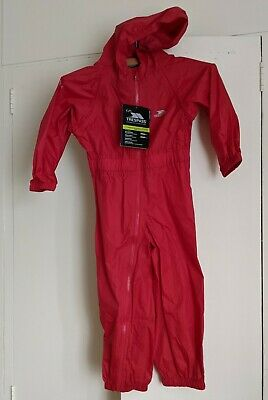 BNWT TRESPASS 3-4y Unisex Boys Girls Red Coverall Puddle Splash Suit Waterproof • 9.99£