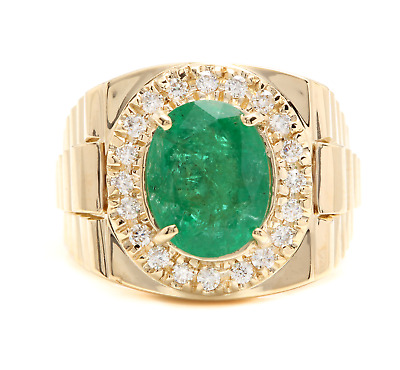 $2900 • Buy 6.20Ct Natural Emerald And Diamond 14K Solid Yellow Gold Men's Ring