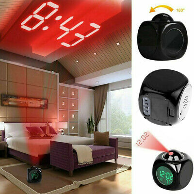 AU14.48 • Buy Digital Alarm Clock LED Projector Temperature Thermometer Table Clock