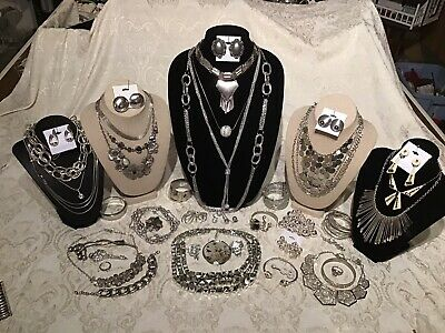 $ CDN24.99 • Buy Vintage To Now Jewelry Lot Silver Necklace Rings Bracelets Earrings
