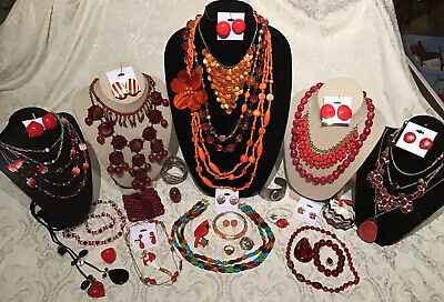 $ CDN24.99 • Buy Vintage To Now Jewelry Lot Red Orange Necklace Rings Bracelet Earrings Etc