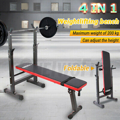 £64.99 • Buy Adjustable Folding Sit Up Weight Bench Barbell Dip Station Lifting Chest Press