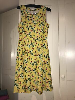 Brora Yellow Floral Silk Dress Size 14 - Beautiful, Fully Lined & Pristine • 45£