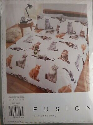 Fusion 'Cats' Printed Double Duvet Cover Set Easy Care - Brand New • 10.99£