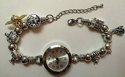 £11.99 • Buy Handmade Silver HARRY POTTER Themed Watch Bracelet With 8 Charms .