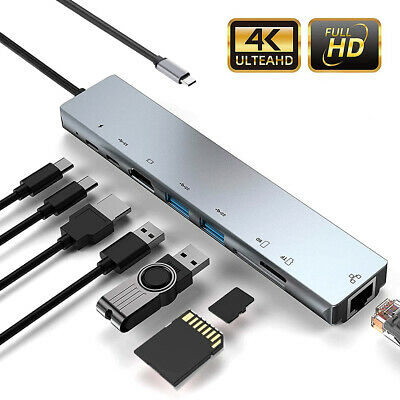 AU29.61 • Buy 8 In 1 Multiport Type C To USB-C 4K HDMI Adapter USB 3.0 Cable Hub For Macbook