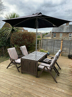 IKEA Applaro Outdoor Garden Furniture Dining Set: Table, 4 X Chairs And Parasol  • 95£