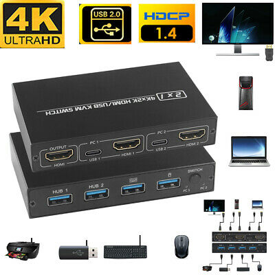 AU26.96 • Buy HDMI KVM Switch Ultra HD 4K For 2 PC Sharing Monitor Keyboard Mouse Printer