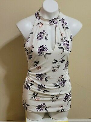 $ CDN16.48 • Buy White House Black Market Purple Floral Crew Neck Ruched Sleeveless Top Size S