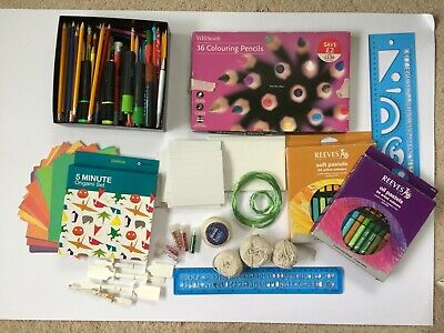 Reeves Soft Pastels, Oil Pastels, WHSmiths 36 Coloured Pencils, Origami Set • 20£
