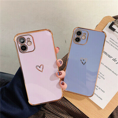 AU11.52 • Buy For IPhone 12 11 Pro Max/12 Mini Plating Candy Case Love Heart Plating TPU Soft