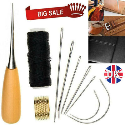 £5.35 • Buy Leather Sewing Needle Set Stitching Needles Thread Thimble Shoes Repair Tool Kit