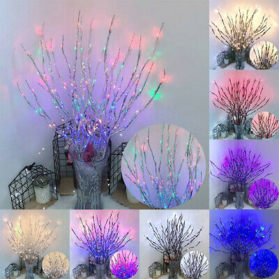 20 LED Branch Twig Lights Light Up Willow Tree Branches Home Bedroom Decor 77cm • 5.71£