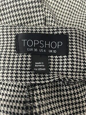 £20.95 • Buy TOP SHOP Dogtooth Checked Slim Cigarette Trousers Ruffle Pockets UK 10 Work Wear