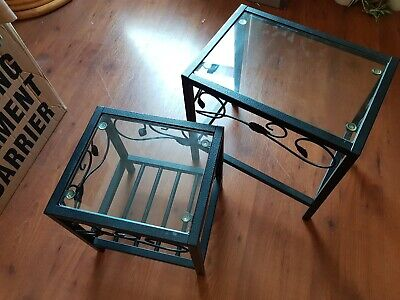 Nest Of Tables.  Set Of 2 - Wrought Iron Metal With Glass Tops • 10£