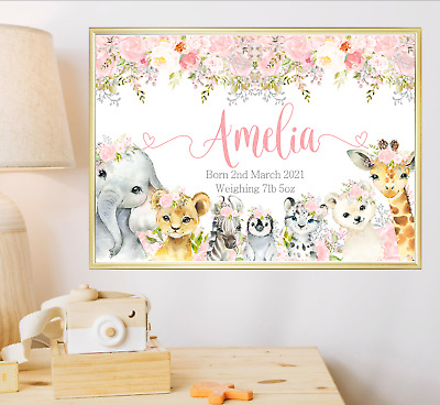 £4.99 • Buy Animals Personalised Name Nursery Print Wall Art Poster Baby Girl Birth Details