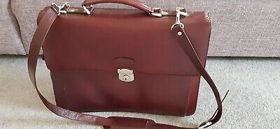 Dark Tan Briefcase/Laptop Bag/Document Case Leather Used • 8.99£