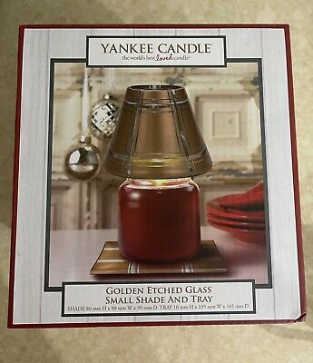 Yankee Candle Golden Etched Small Shade & Tray Set Steven Corfield QVC • 14.99£