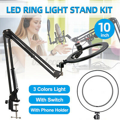 AU33.29 • Buy 10'' LED Ring Light Lamp Dimmable+Flexible Stand Phone Holder Makeup Live Lam