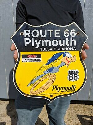 $ CDN1.26 • Buy Dated 1968 Vintage Old Plymouth Route 66 Porcelain Sign Highway Sign Road Runner