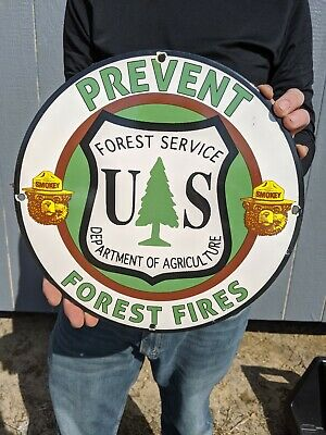 $ CDN1.26 • Buy Old Vintage Smokey The Bear Porcelain Gas Oil Sign Prevent Wildfires Forest Fire