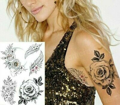 £2.99 • Buy Sexy Collection Roses Flowers Feathers Temporary Waterproof Tattoos Womens Fake