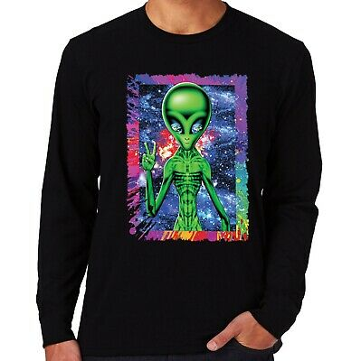 Velocitee Mens Long Sleeve T-Shirt Psychedelic Alien UFO Rave Festival A23668 • 12.25£