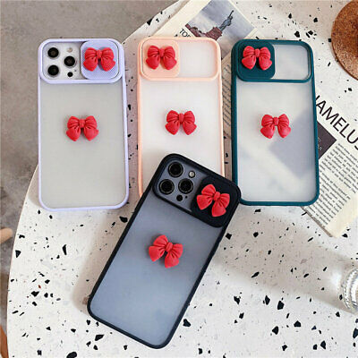 AU11.99 • Buy Cute Case For IPhone 12 PRO Max 11 XS 8 Plus Bowknot Slide Camera Protect Cover