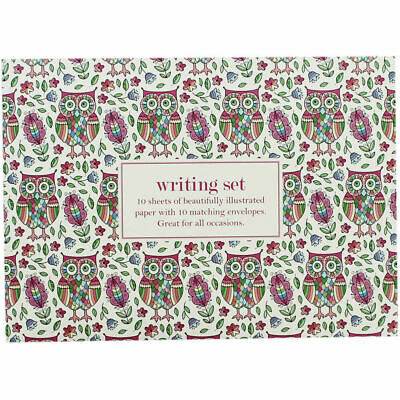 £2.99 • Buy Owls Writing Set 10 Letters Writing Paper With Envelopes In Envelope Gift Set