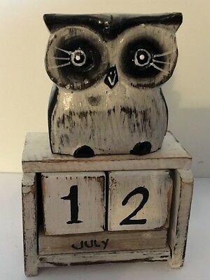 £6 • Buy Standing White Owl Perpetual Calendar Wooden (Hand Carved).....