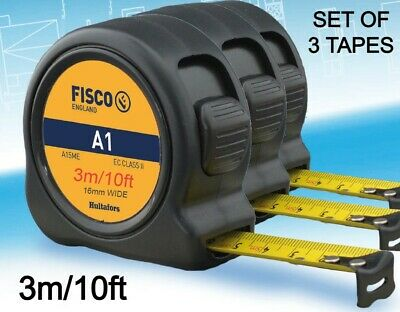 £12.99 • Buy Fisco Set Of 3 Tapes - A13ME Short Tape Measure 3m/10ft (16mm Width)