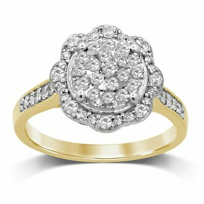 AU1249.50 • Buy Bevilles Martina Solitaire Look Halo Ring With 1/2ct Of Diamonds In 9ct Yellow