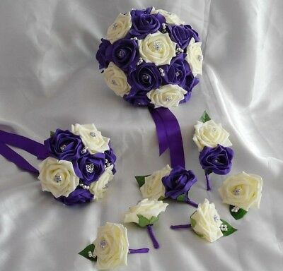 £42 • Buy Wedding Flowers Cadbury Purple & Ivory Rose Bouquet Posy Buttonholes PACKAGE