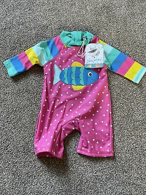 £14 • Buy Frugi Baby Girls Fish Bright Stripe Swimsuit All In One Sun Safe Suit 0-3 M