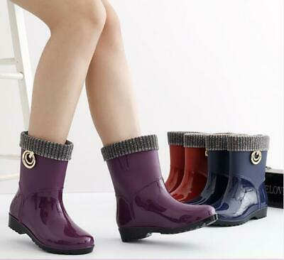 AU36.99 • Buy Waterproof Fur Lined Wellies Women Outdoor Wellington Boots Rain Snow Shoes Warm
