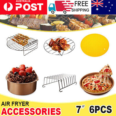 AU18.66 • Buy 7  Air Fryer Accessories Frying Cage Dish Baking Pan Rack Pizza Tray Pot Kit AU